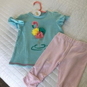 NWT Mudpie flamingo Outfit - top and bottoms